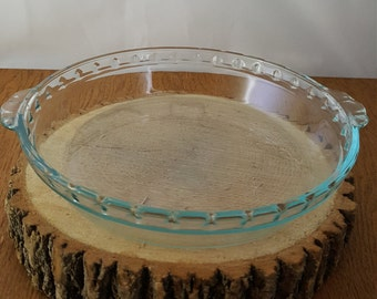 Vintage Pyrex Glass Pie Plates~Your Choice of one 9.5 inch Clear Green and 10 inch Clear Glass Pyrex Pie Plates