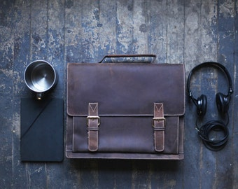 Mens Leather Messenger Bag - The Midtown