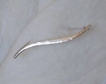 Scarf Pin - hammered wave in Sterling Silver