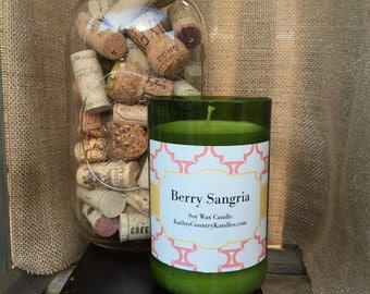 Hand Cut Wine Bottle Soy Wax Candle Berry Sangria // gifts for her// home decor//