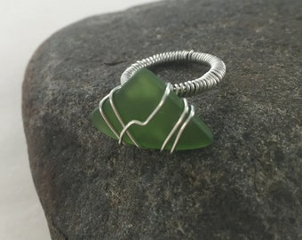 Green Beach Glass Ring Size 4.5