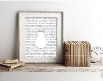 Inspirational Quote Print, Light Bulb Art, 8x10 Print, 11x14 Print, Wall Art, Modern Decor