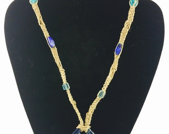 Hemp necklace with glass beads and pendant