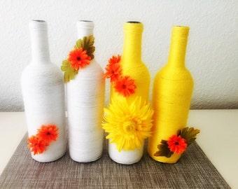 Wine Bottle Decor, 'ZOE' Bottle, Home Decor, Housewarming Gift, Yellow Orange White, Wedding Centerpiece, Yarn Wrapped Wine Bottles