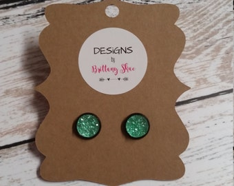 Crystal Mint and Black Druzy Earring Pair