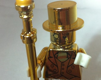 Custom Mr Gold Chrome Minifigure Series 10 Mini fig 71001 Lego