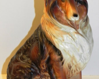 Collie Dog Figurine Vintage Lefton Birthday Gift Ceramic 6.5 inches