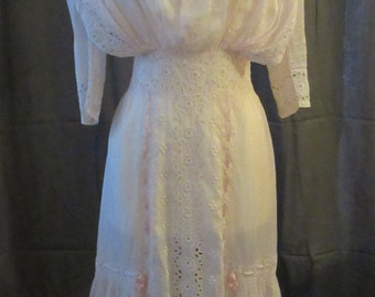 Edwardian Light Pink Cotton Day Dress