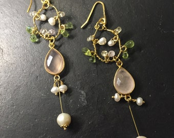 Lady Pink>> Pink gemstone dangle earrings, freshwater pearl, peridot, quartz, gold vermeil wrapped earrings