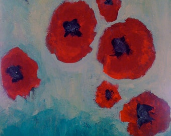 Red Poppies in Green