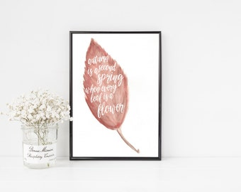 Autumn is a Second Spring Print / Red Watercolor Leaf Fall Printable / Fall Home Decor / Autumn Quote Print / Fall Printable Art / Fall Art