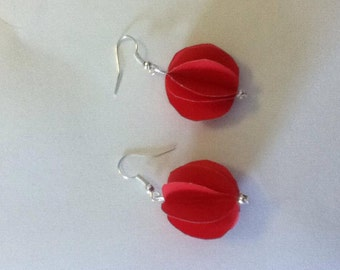 red paper lantern earrings