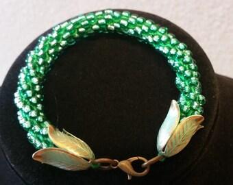 Peridot Crocheted Bracelet