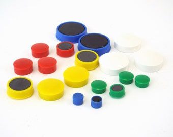 Whiteboard Memo Magnets, Button Fridge Magnets, Blue, Red, Green, White, Yellow  - 10mm, 15mm, 20mm, 25mm 30mm, 36mm - Packs of 100