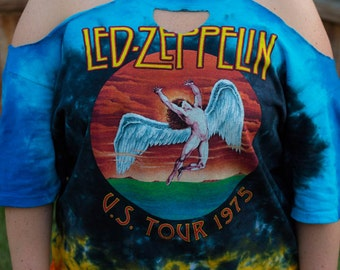 Distressed Custom Cut Tie Dye Led Zeppelin 1975 US Tour Shirt