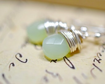 Tiny Pistachio Green Earrings, Small Glass Drops, Simple Silver Wire Wrap Jewelry, Modern, Minimalist, Pale Mint