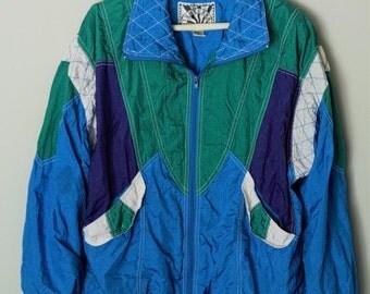 Sunterra Blue Green and Purple Wind Breaker Zip Up Jacket Vintage 1980s Womans Size Large
