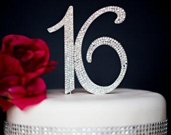 Sweet 16 Cake Topper - Premium Crystal Rhinestones - Monogram Number Sixteen 16 Birthday - Rhinestones Securely Attached - Perfect Keepsake