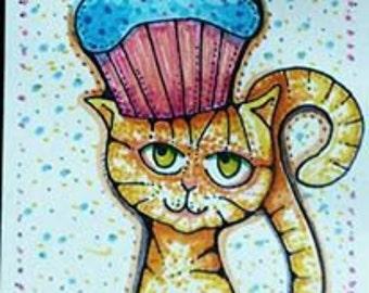"ACEO Card Original Art ""Cupcake Cat"""