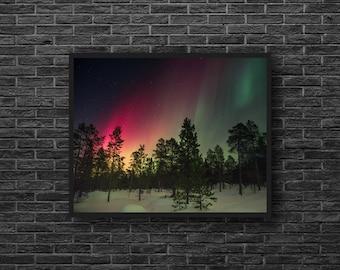 Northern Lights Photography - Polar Lights Photo - Winter Photo - Sky Photo Print - Winter Wall Decor - Sky Photography - Sky Wall Decor