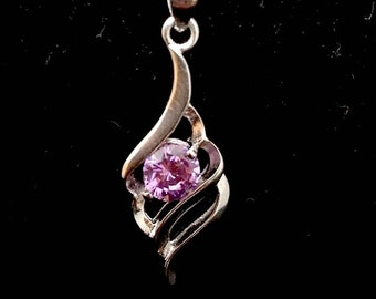 925 Silver necklace purple rhinestone