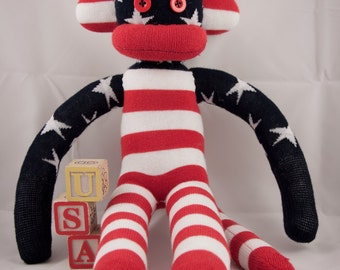 """18"""" Stars and Stripes Sock Monkey - Made from Americian Made Socks"""