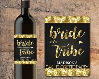 CUSTOM BRIDE TRIBE Bachelorette Party Wine Bottle Label, Bachelorette Party Favors, Wine Stickers