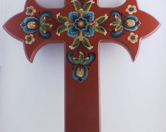rosemaling  painted cross