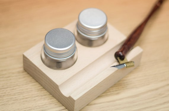 Wooden Stand And Ink Pot For Oblique Calligraphy Pen Holder 2
