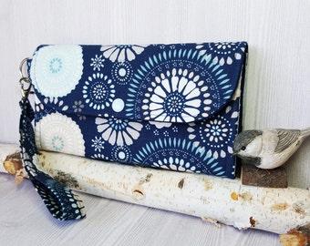 Blue on Blue Circle Womens wallet, Wristlet bifold wallet,  Fabric Handmade wallet, Womans Clutch wallet, card wallet, phone wallet