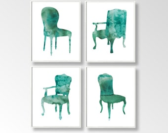 SET of four Watercolor Art Prints, Furniture Watercolor Painting, Home Wall Décor, Chairs Art Printable, INSTANT DOWNLOAD