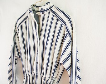 Striped Long Sleeved Knit Dress - Made in USA