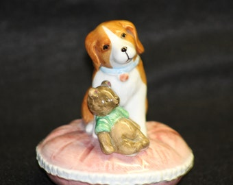 """Schmid Dog and Bear Musical Figurine  """"How much is that doggy in the window"""" music"""