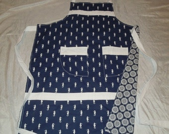 Seahorse Navy Blue and White Kitchen and Craft Apron