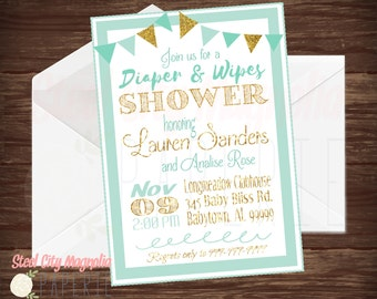mint and gold baby shower invitation diaper u0026 wipes invite diaper shower bunting