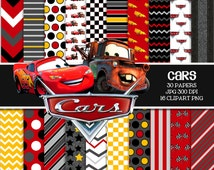 "DISNEY CARS Digital Paper Pack - 30 Papers - 16 Clipart - 12"" X 12 "" - Printable Paper-Digital Scrapbooking-Instant Download-"