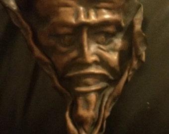 Antique Vintage leather Halloween paper mache demon devil decorative mask