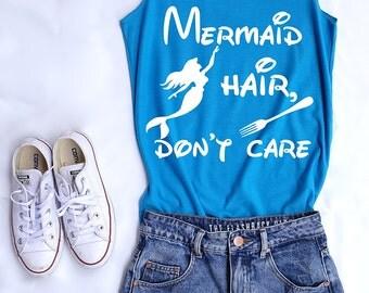 Mermaid hair don't care. Ariel tank top. Ariel tee. Mermaid tank. Disney princess. Tee&Tops. Disney tank. Disney family shirts. Disney shirt