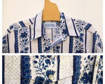 Souleiado M Cowboy Cowgirl Provencal Shirt Stripes Blue and White