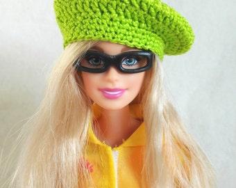 Green Barbie doll beret, hat for Barbie-like dolls