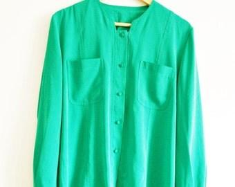 Vintage shirt blouse Green 1980s Size 12