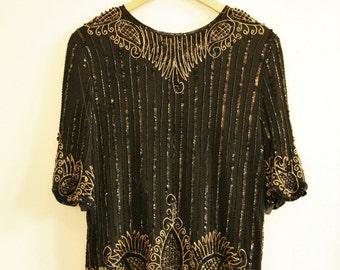 Vintage beaded embellished top gold black 1980s Size M 12