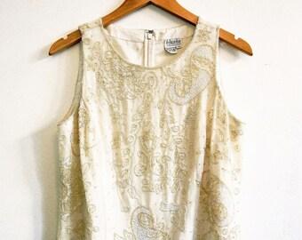 Vintage beaded embellished vest top cream 1980s Size 12