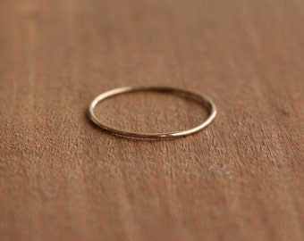 14K Gold Ultra Thin Stacking Ring, Solid Gold Jewelry, Handmade Simple Gold Ring