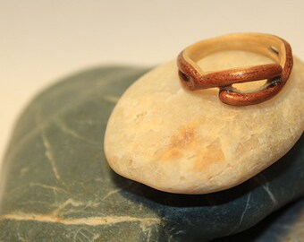 White Maple and Cherry Bent Wood Ring, size 7