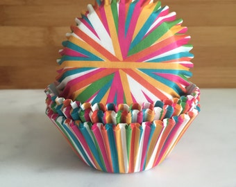 Color Wheel Cupcake Liners, Standard Sized, Baking Cups (50)