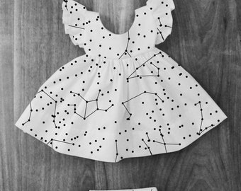 Constellation Pinafore Dress Outfit with matching Bloomer Diaper Cover and Bow
