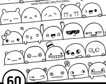 60 Cute Doodle Faces / Expressions Printable Practice Sheets