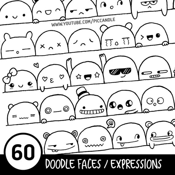 60 Cute Doodle Faces Expressions Printable Practice Sheets