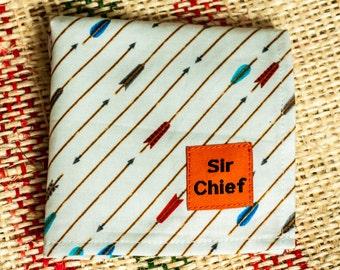 Arrows - White & Brown - Handkerchief / Pocket Square